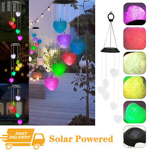Wind Chimes Solar Powered LED Light Changing Hanging Outdoor Garden Yard Decor
