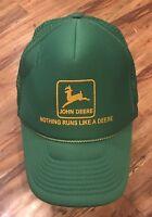 VINTAGE JOHN DEERE GREEN AND GOLD SNAPBACK MESHBACK TRUCKERS HAT BASEBALL CAP VG