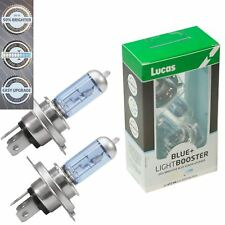 2x Lucas H4 472 +50% LightBooster Blue Tint Headlamp Upgrade Car Bulbs