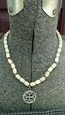 bone look pendant signed choker Vintage napier silver tint necklace