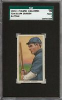 Rare 1909-11 T206 HOF Clark Griffith Batting Tolstoi Back Cincinnati SGC 10 / 1