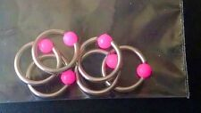 """3mm Acrylic Pink Neon Ear Tragus 16g Steel Captive Bead Ring, Approx. 5/16""""."""
