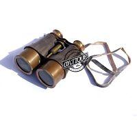 Vintage Vintage Military Brass Binocular Leather Wrap And Belt Antique Mari