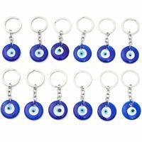 12 Pack Hamsa Evil Eye Amulet Keychains for Good Luck, Dark Blue, 3.3 inch