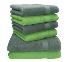 Betz 6-tlg. Handtuch-Set Premium anthrazit & apfelgrün 100% Baumwolle