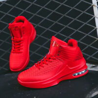 Men's Air Cushion Basketball Shoes Boots Slamdunk High Top Sports Sneakers Red