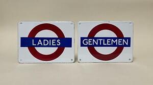 Vintage 1980s Garnier Enamel Signs 'Ladies' & 'Gentlemen' - Dodo Designs era