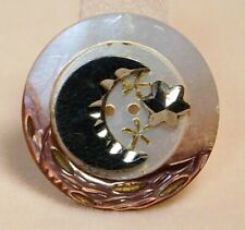 New listing Antique Button Small Cut Steel Moon & Stars on Carved Pearl Shell Nice! H