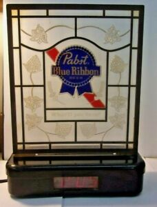 Pabst Blue Ribbon 1989 Table Digital Clock & Lighted Sign for PARTS or REPAIR