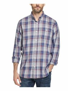 WEATHERPROOF VINTAGE Mens Gray Plaid Long Sleeve Classic Fit Button Down