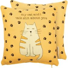 """New """"My Cat And I Talk * About You"""" Cute Paw Print Decor Pillow"""