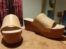 Womens Nude Medium Wedge Platform Backless Open Toe Sandals Size 6/39