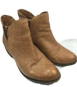 Lucky Brand Barstyn Basel Booties Ankle Boots Zip Caramel Brown Cognac 8.5 M
