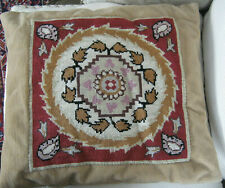 """Vintage Needlepoint 12"""" Square Leaf FolkArt Quilt Pattern Completed Pillow Cover"""
