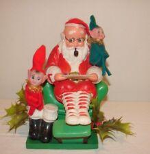 Vintage Kitsch Christmas 50s Santa Reading to Pixies Plastic Centerpiece Decor