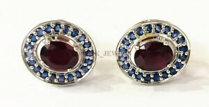 Natural Ruby & Blue Sapphire Gemstone with 925 Sterling Silver Cufflink #2532