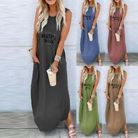 Women Sleeveless Letter Long Maxi Dress Plus Size Casual Summer Sundress UK