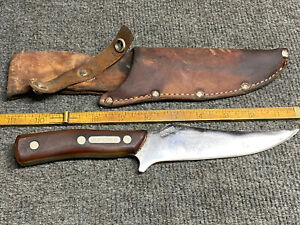 Vintage Schrade Old Timer 150T Fixed Blade Knife with Leather Sheath Razor Shar