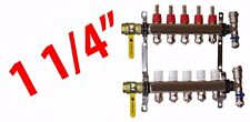 """5 Loop 1 1/4"""" PEX Manifold Radiant Floor Heating Stainless Steel and Connectors"""