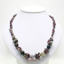 A UNIQUE DESIGN PURPLE BAROQUE PEARL & TOURMALINE NECKLACE 925 SILVER CLASP