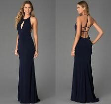 Ladies Navy Blue Maxi Cocktail Mermaid Backless Formal Evening Dress 12 14 16 18