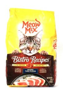 1 Bag Meow Mix 48 Oz Bistro Recipes Real Seared Tuna Flavor Dry Cat Food BB 4/22