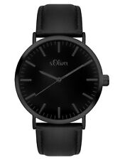 s.Oliver Time Damen Leder Armbanduhr Schwarz Edelstahl SO-3374-LQ