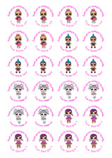 Mixture LOL Dolls Personalised Thank You Stickers Party Bag Sweet Cone Birthday