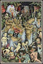 """Keliki Kawan Miniature Traditional Painting from Bali"" Signed (6 5/8""H x 4.5""W)"