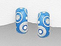 18mm Sterling Silver MODERN ART Blue Enamel CZ Earrings 6.3g Posts w Clips