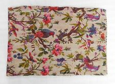 INDIAN KANTHA BIRD PRINT QUILT QUEEN BEDSPREAD BLANKET THROW Vintage BEIGE