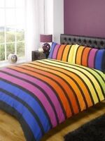 DOUBLE PACIFIC BLUE PINK YELLOW RED COTTON BLEND STRIPED DUVET COVER SET *RH*