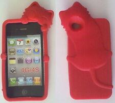 COVER CUSTODIA SILICONE PER APPLE IPHONE 4 4S GATTO COLORE ROSSO IDEA REGALO
