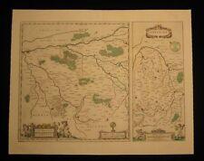 1644 Original Blaeu Map of Loudun Mirebeau France Wine Region Large Excellent