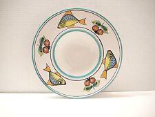 """Pasta Bowl Vietri Italian Hand Made Art Pottery 11 1/4"""" Fish & Fruit Italy HP"""
