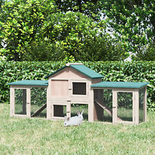PawHut Bunny Habitat Deluxe Wooden Rabbit Hutch Outdoor w/ Large Run Slide out