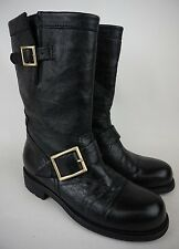 Jimmy Choo Motorcycle Moto Black Leather Biker Boots Size 34.5 / 4.5 $1,050+