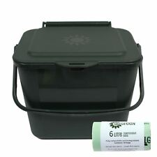 5L Green Kitchen Compost Caddy/Food Waste Bin & 50 x 6 Litre Compostable Bags