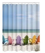 "Wooden Chairs on Relaxing Beach Shower Curtain 72"" x 72"" Nautical bath decor"