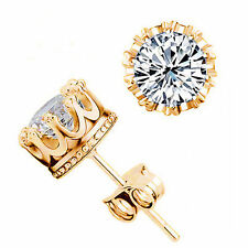 Pretty New Yellow Gold Plated Crown Set White Clear 6mm CZ Stud Post Earrings