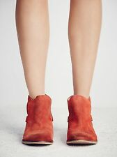 NEW $168 Free People Summit Ankle Boots 40 9 9.5 Rust Terra Cotta Suede Leather