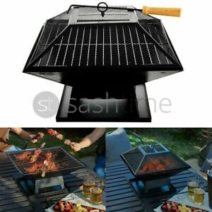 Square Fire Pit BBQ Grill Heater Outdoor Graden Firepit Brazier Patio Outside
