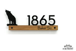 Modern House Numbers - Wolf Wooden & Acrylic signs - African Teak Iroko - Plaque