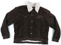 Lee Outerwear Corduroy Sherpa Lined Collar Brown Tan Full Button Mens Jacket XXL