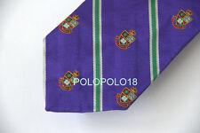 New Polo Ralph Lauren Silk Neck Tie Italy Purple Stripe Crest