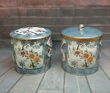The Tin Box Company Daher Canisters (2) with lids Made in England Fans & Flowers