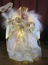 CHRISTMAS Fiber Optic Color Changing Angel Tree Topper, White and Gold EXCELLENT