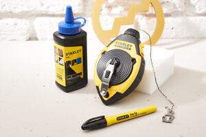 Stanley FatMax 113G Blue Chalk + 30M Chalk Line Reel + Fine Marker Pen
