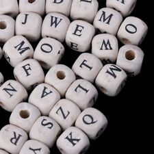 100pcs Natural Mixed A-Z Alphabet Letter Cube Wood Beads Jewelry Making 10mm