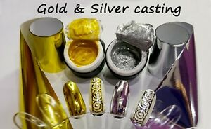 Gold Silver Gel paint 5 ml and 1m Gold Silver Foil for Nail Art like Emi
